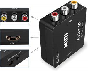 RCA to HDMI GANA 1080p Mini RCA Composite CVBS AV to HDMI Video Audio Converter