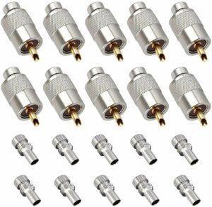 Linkhood UHF PL259 Solder Connector Plug with Reducer (Pack of 10)