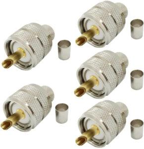 Riotaxy UHF PL-259 PL259 Male-Plug Crimp Coax Connector (Pack of 5)